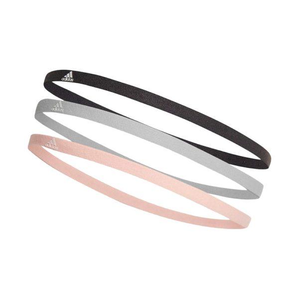 Adidas elastische haarbanden 3 stuks unisex zwart/grijs/licht roze