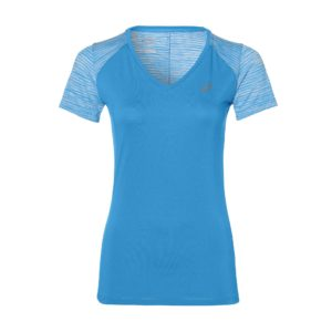 Asics FuzeX V-Neck SS hardloopshirt dames blauw