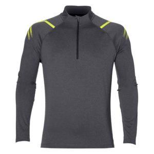 Asics Icon LS 1/2 hardloopsweater heren grijs/geel