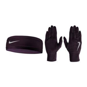 Nike Dri-Fit hardloop hoofdband met handschoenen dames paars