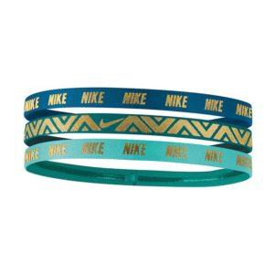 Nike Metallic elastische haarbanden 3 stuks blauw/turquoise/goud
