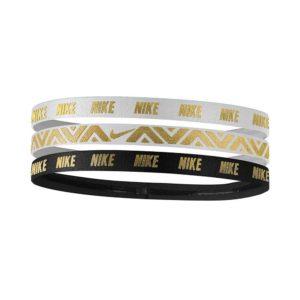 Nike Metellic elastische haarbanden 3 stuks wit/zwart/goud