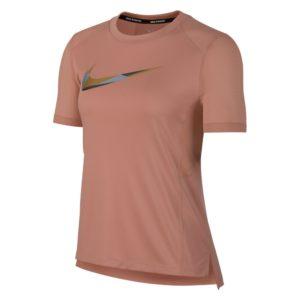 Nike Miler Metallic SS hardloopshirt dames roze