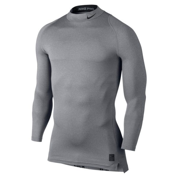 Nike Pro Cool Compression LS Mock thermoshirt heren grijs